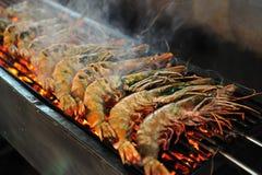 Barbecue de crevette rose de tigre Images stock