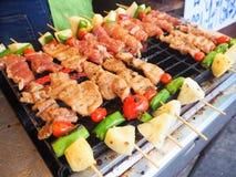 Barbecue de porc et de poulet sur le bâton photos libres de droits