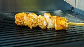Barbecue de poulet de vue de fin de Timelapse préparé sur le gril banque de vidéos