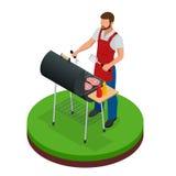 Barbecue de préparation masculin dehors Nourriture d'été de gril Pique-nique faisant cuire le dispositif Illustration isométrique illustration de vecteur