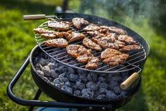 Barbecue in de tuin, werkelijk smakelijk diner Royalty-vrije Stock Foto's