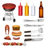 Barbecue Decorative Icons Set. With grilled meat kitchen utensil ketchup collection and beer bottle isolated vector illustration Royalty Free Stock Photo