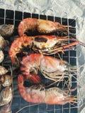 Barbecue dei frutti di mare sulla spiaggia Fotografie Stock Libere da Diritti