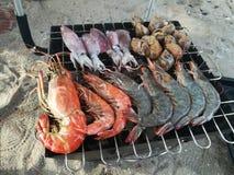 Barbecue dei frutti di mare sulla spiaggia Immagine Stock Libera da Diritti