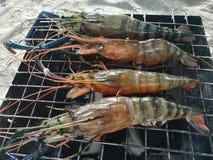 Barbecue dei frutti di mare sulla spiaggia Immagini Stock Libere da Diritti