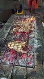 Barbecue del carbone dei frutti di mare Fotografia Stock