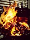 Barbecue del fuoco alla notte Immagine Stock Libera da Diritti