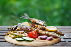 Barbecue del pesce dello sgombro con il limone e le verdure arrostite Fotografia Stock Libera da Diritti