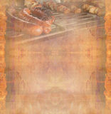 Barbecue with delicious grilled meat ,Abstract vintage frame Stock Image