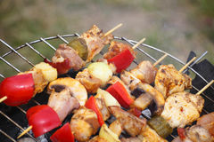 Barbecue with delicious grilled meat on grill Stock Photo