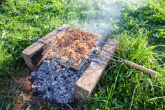 Barbecue with delicious grilled meat Stock Image