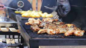 Barbecue With Delicious Grilled Meat On Grill. Barbecue Party. Chicken meat pieces being fried on charcoal grill. Barbecue With Delicious Grilled Meat On Grill stock video