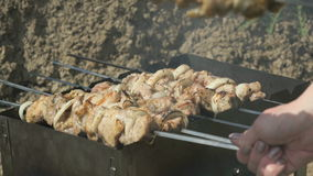 Barbecue with delicious grilled meat on grill. Pork meat pieces being fried on a charcoal grill outdoors stock footage