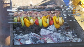 Barbecue with delicious grilled meat and vegetables cooked on the grill stock video footage