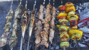 Barbecue with delicious grilled meat and vegetables cooked on the grill stock footage