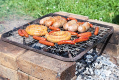 Barbecue with delicious grilled Royalty Free Stock Photography