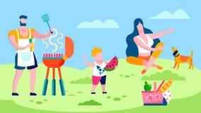 Barbecue della famiglia nell'illustrazione piana della campagna illustrazione di stock