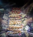 Barbecue dello shashlik di notte Immagine Stock