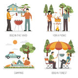 Barbecue 2x2 Design Concept. Set of yard park forest and camping flat compositions as places for picnic vector illustration Royalty Free Stock Image