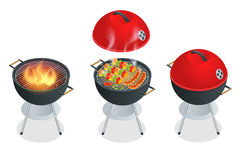 Barbecue design elements and barbecue grill summer food. Flat 3d vector isometric illustration. Royalty Free Stock Image