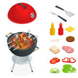 Barbecue design elements. Grill summer food. Picnic cooking device. Flat isometric illustration. Family weekend. BBQ is Stock Photography