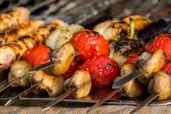 Barbecue di appetito della verdura e della carne Fotografia Stock