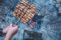 Barbecue di estate con il pollo pranzo Immagini Stock