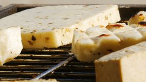 Barbecue die - vegetarisch voedsel roosteren - tofu en kaas - sluit omhoog - 4k stock video