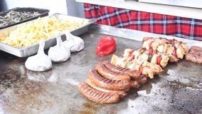 Barbecue with different dishes stock video footage