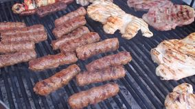 Barbecue. With different types of pork, beef and chicken and romanian traditional meat rolls