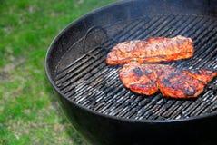 Barbecue e bistecche Fotografie Stock