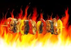 Barbecue e fuoco Fotografia Stock Libera da Diritti