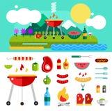 Barbecue ed alimento all'aperto Oggetti di vettore messi Fotografia Stock