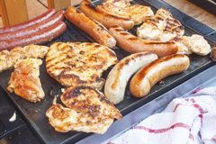Barbecue on the electric grill. Summer party, detailed view of grilled Royalty Free Stock Image