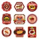 Barbecue Emblems Set Stock Photos