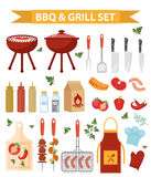 Barbecue en grill geplaatste pictogrammen, vlakke of beeldverhaalstijl BBQ inzameling van voorwerpen, elementen van ontwerp Geïso royalty-vrije illustratie