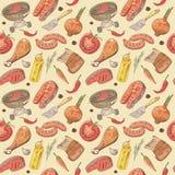 Barbecue en Grillhand Getrokken Naadloze Achtergrond met Lapje vlees, Vlees, Vissen en Groenten Het Patroon van de picknickpartij stock illustratie