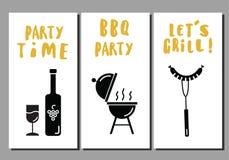 Barbecue en grillvliegers Reeks malplaatjes Idee voor bbq partij, restaurantbevordering Witte achtergrond stock illustratie