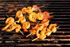 Barbecue enorme de crevette de type coréen image libre de droits