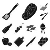 Barbecue and equipment black icons in set collection for design. Picnic and fried food vector symbol stock web. Barbecue and equipment black icons in set Stock Photos
