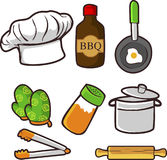 Barbecue Essentials vector. Isolated on white background.. Hand drawn barbecue essentials vector elements with barbecue sauce, oven mittens, rolling pin Stock Image