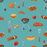Barbecue Essentials Pattern Stock Photography