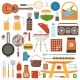 Barbecue et ensemble de pique-nique illustration libre de droits