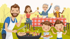 Barbecue family. Father, mother, daughter, son, grandfather and grandmother, are barbecue in the nature of summer. big family. grilled meat, sausages, eat, drink vector illustration
