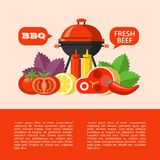 BBQ. Vector illustration. Barbecue, finest beef. Barbecue set, vector clip art in flat style. Big appetizing beef steak, vegetables, Basil, lemon. Vector vector illustration