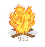 Barbecue fire flames logo. Barbecue fire flames design vector background logo Stock Photo