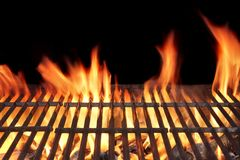 Barbecue Fire Grill. Close-up,  on Black Background Stock Photos