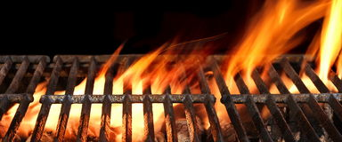 Barbecue Fire Grill Isolated On The Black Background, Close Up royalty free stock photos
