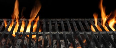 Barbecue Fire Grill Isolated On The Black Background, Close Up royalty free stock photography