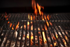 Barbecue Fire Grill Isolated On The Black Background, Close-up Royalty Free Stock Photography